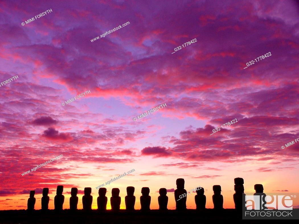Stock Photo: sunrise at Ahu Tongariki, Rapa Nui Easter Island, Isla de Pascua, Chile.