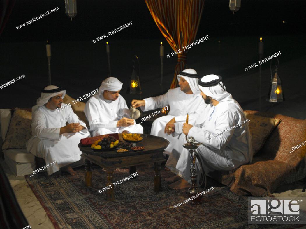 Ramadan: Arab men sitting in Arabian tent for Iftar (fast ...