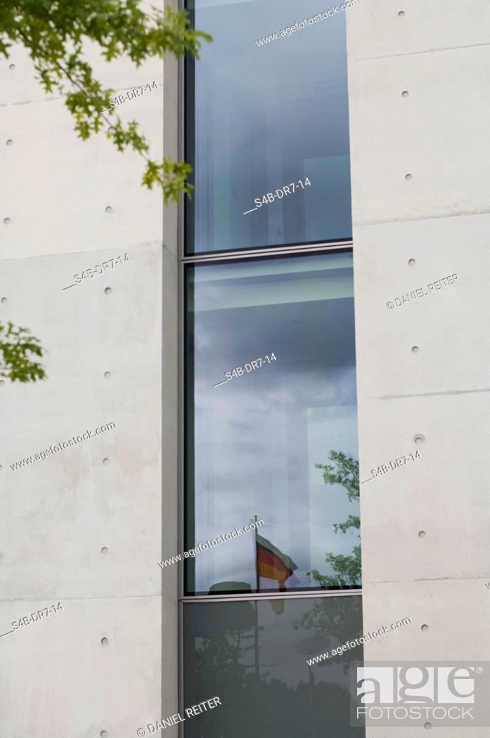 Stock Photo: Refelction of German flag on office building, Potsdam, Brandenburg, Germany.