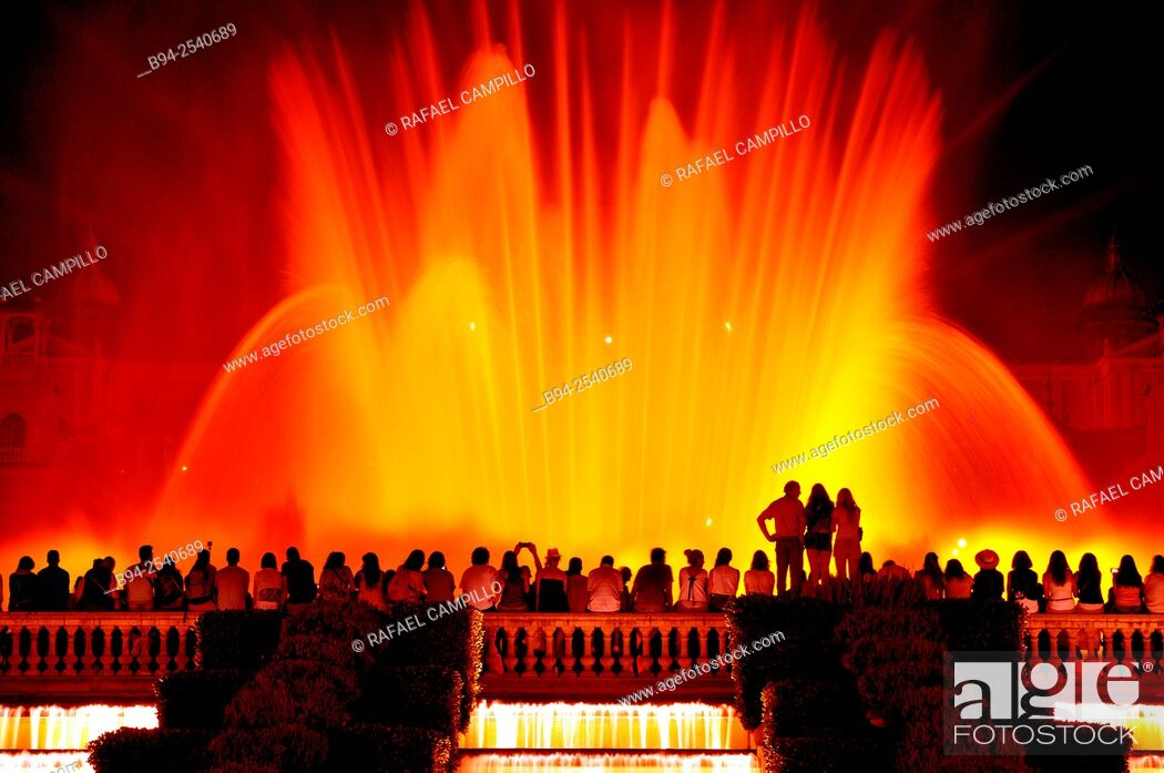 Stock Photo: Magic Fountain of Montjuïc, Fuente mágica de Montjuic is a fountain located at the head of Avenida Maria Cristina in the Montjuïc neighborhood of Barcelona.
