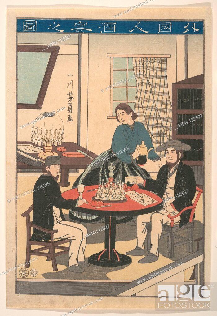 Stock Photo: Gaikokujin Sake no zu/A Foreigner's Wine Party (Gaikokujin shuen no zu), from an untitled series of foreigners at home. Artist: Utagawa Yoshikazu (Japanese.