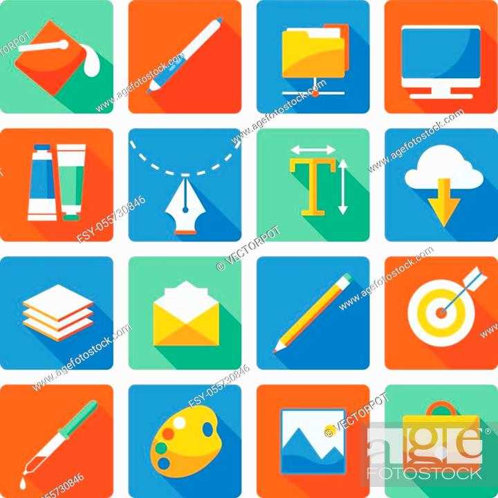 Stock Vector: Web design flat icon set necessary things for designer and creative person his stuff in the workplace vector illustration.