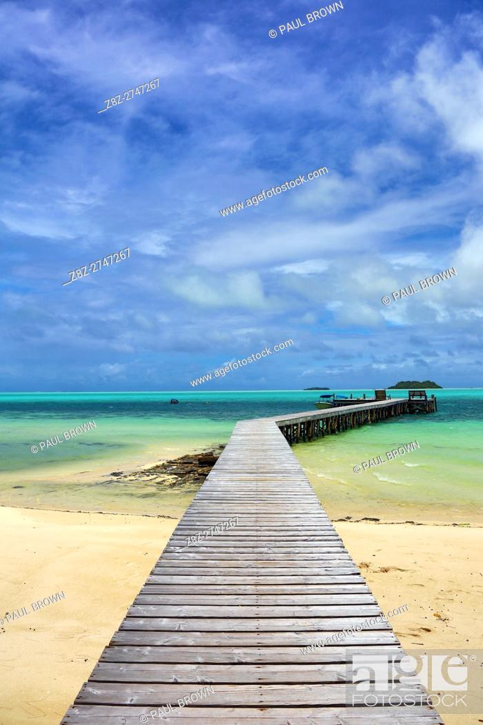Stock Photo: Wooden jetty, Carp Island, Republic of Palau, Micronesia, Pacific Ocean.