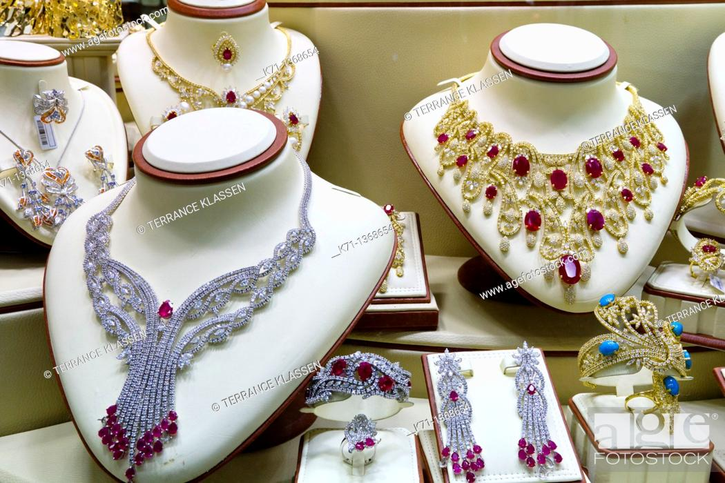 Stock Photo: Closeup view of jewelry displayed in window boxes at the Gold Souq in Dubai, UAE.