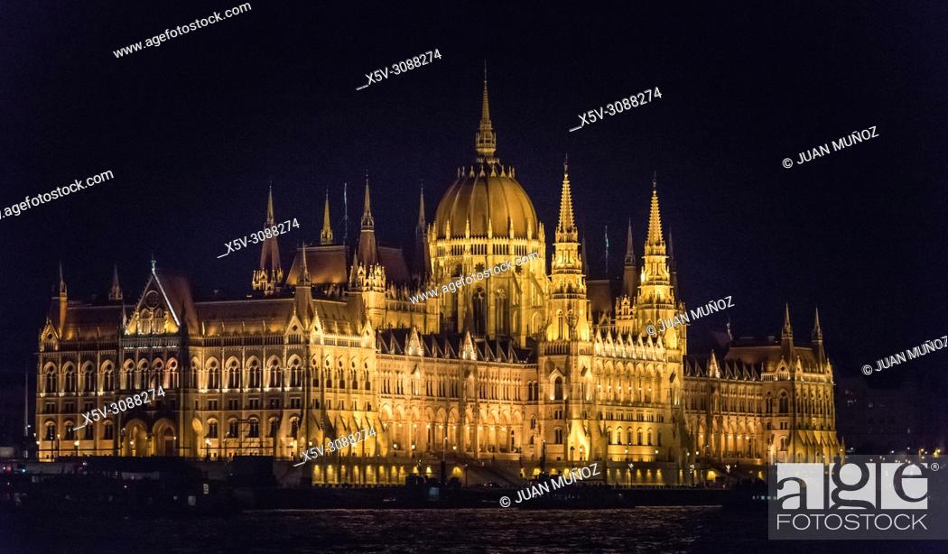 Stock Photo: Parliament of Budapest and Danube river. Night vision. Budapest Hungary.