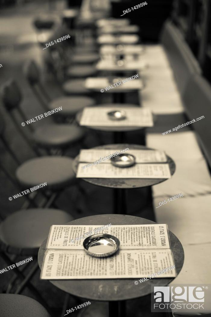 Stock Photo: France, Paris, Left Bank, cafe tables, rue de Buci.