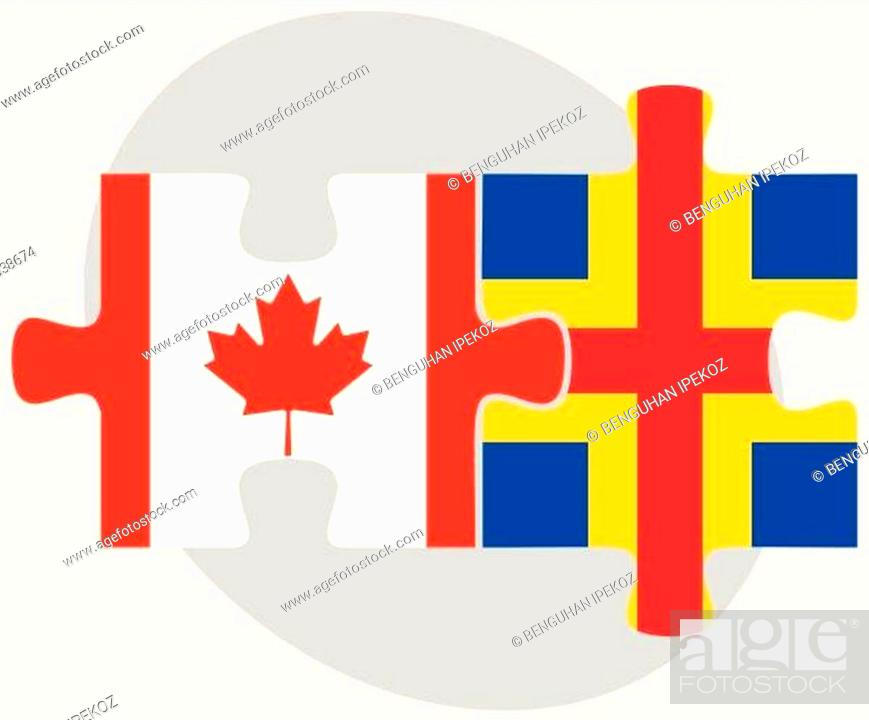 Stock Vector: Canada and Aaland Islands Flags in puzzle.