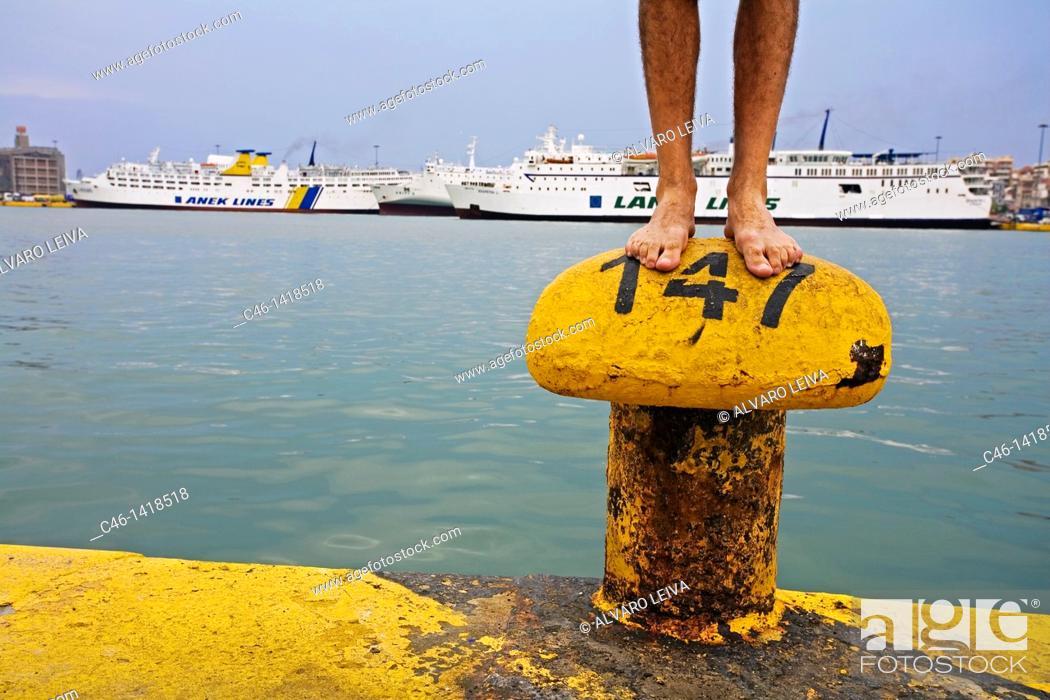 Stock Photo: Port of Piraeus  Athens  Greece.