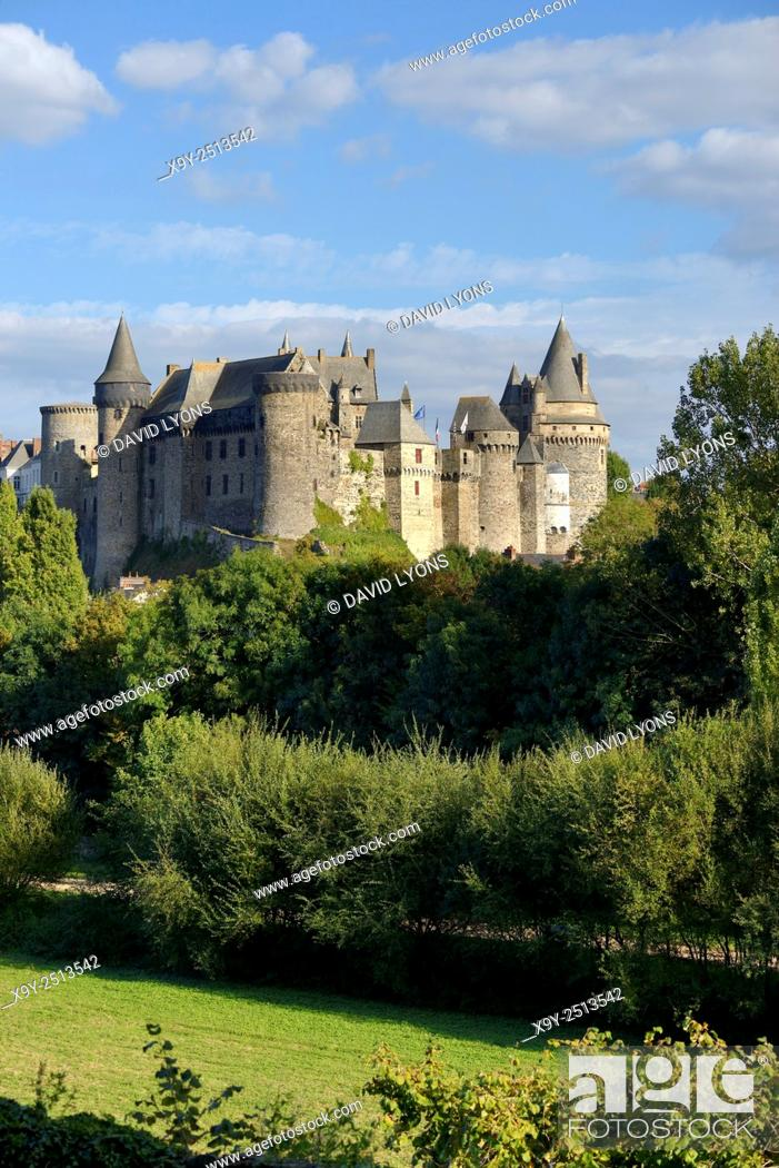 Stock Photo: French medieval town of Vitre, Brittany. Vitre Castle Chateau seen from the west. Summer.