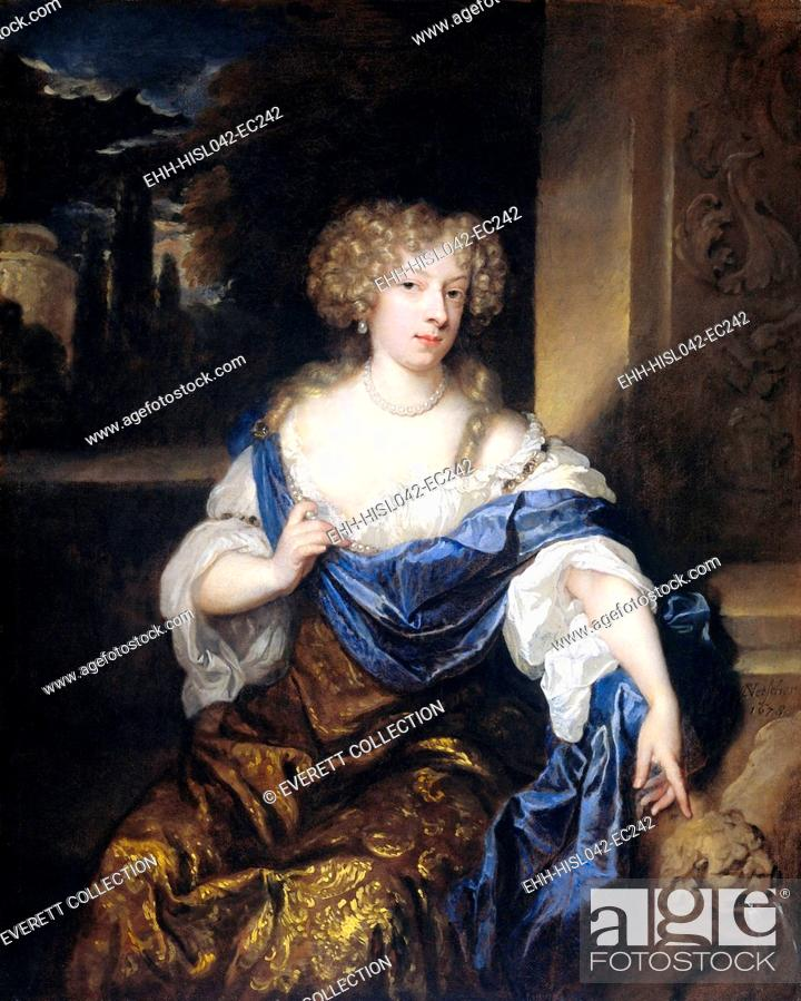 Stock Photo: Helena Catharina de Witte, the Wife of Iman Mogge, by Caspar Netscher, 1678, Dutch oil painting. She point to a fountain in the shape of a lion and places her.