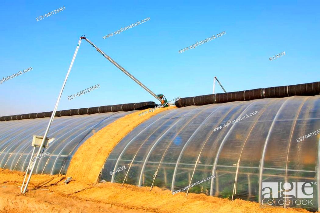 Stock Photo: vegetable greenhouse building appearance in the winter.