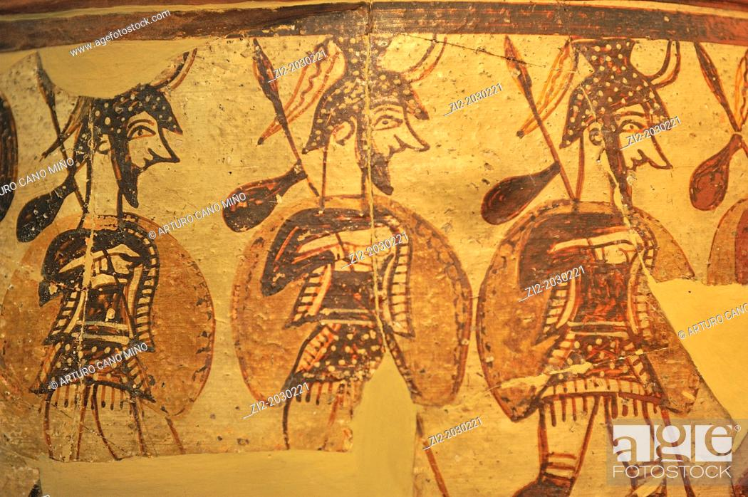 Stock Photo: Detail from the Warrior Vase, Mycenae, 1200-1100 BC, National Archaeological Museum, Athens, Greece.