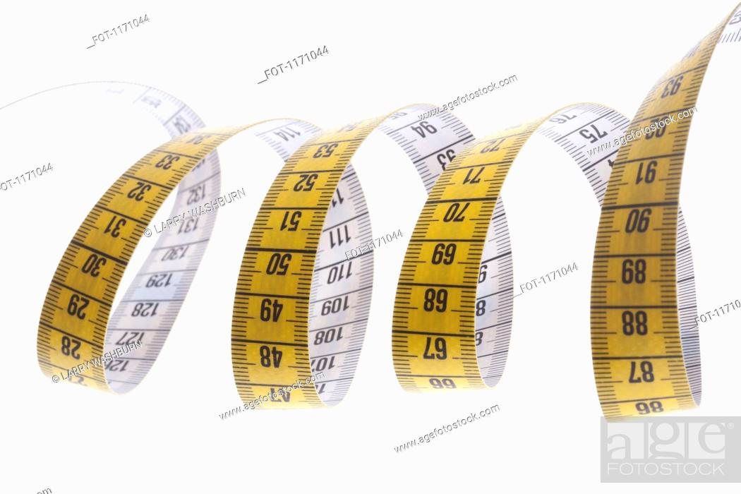 Stock Photo: A centimeter tape measure arranged in a spiral shape.