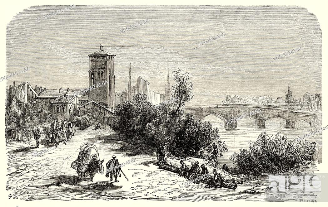 Stock Photo: The Carrion river in Palencia, Castile Leon. Spain, Europe. Old 19th century engraved illustration, El Mundo en la Mano 1878.