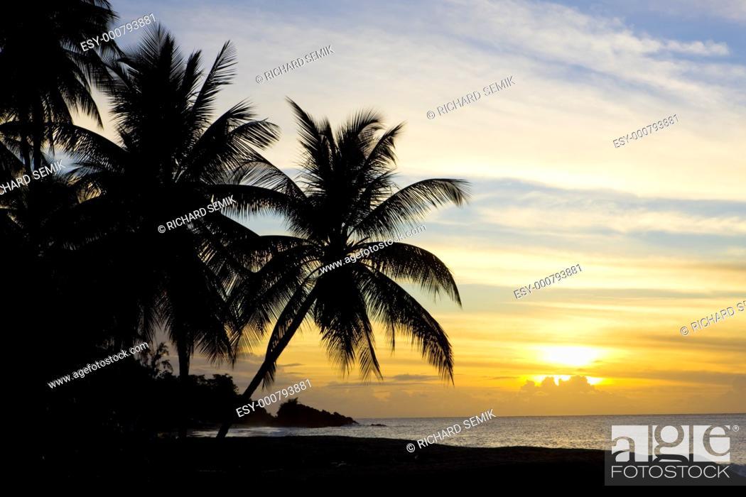 Stock Photo: sunset over Caribbean Sea, Turtle Beach, Tobago.