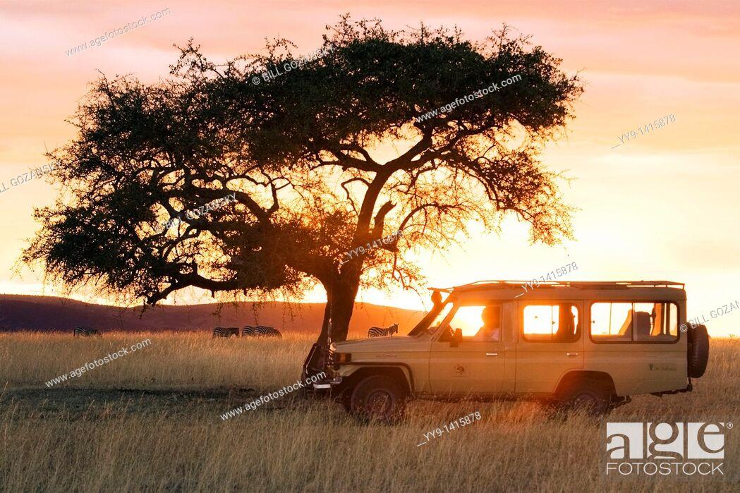 Stock Photo: Safari vehicle in the sunset - Masai Mara National Reserve, Kenya.