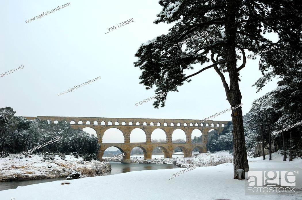 Stock Photo: Pont du Gard in Winter Under Snow Gard Département France.