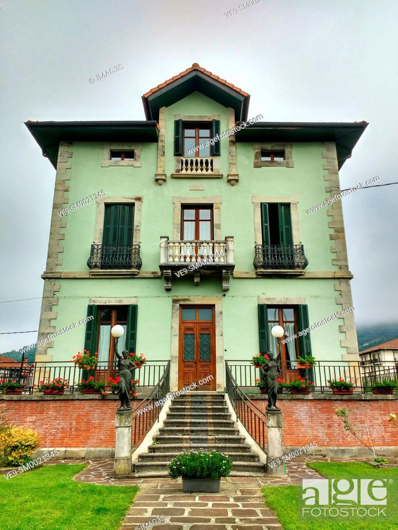 Stock Photo: Elizondo village, Baztan valley, Navarre, Spain.