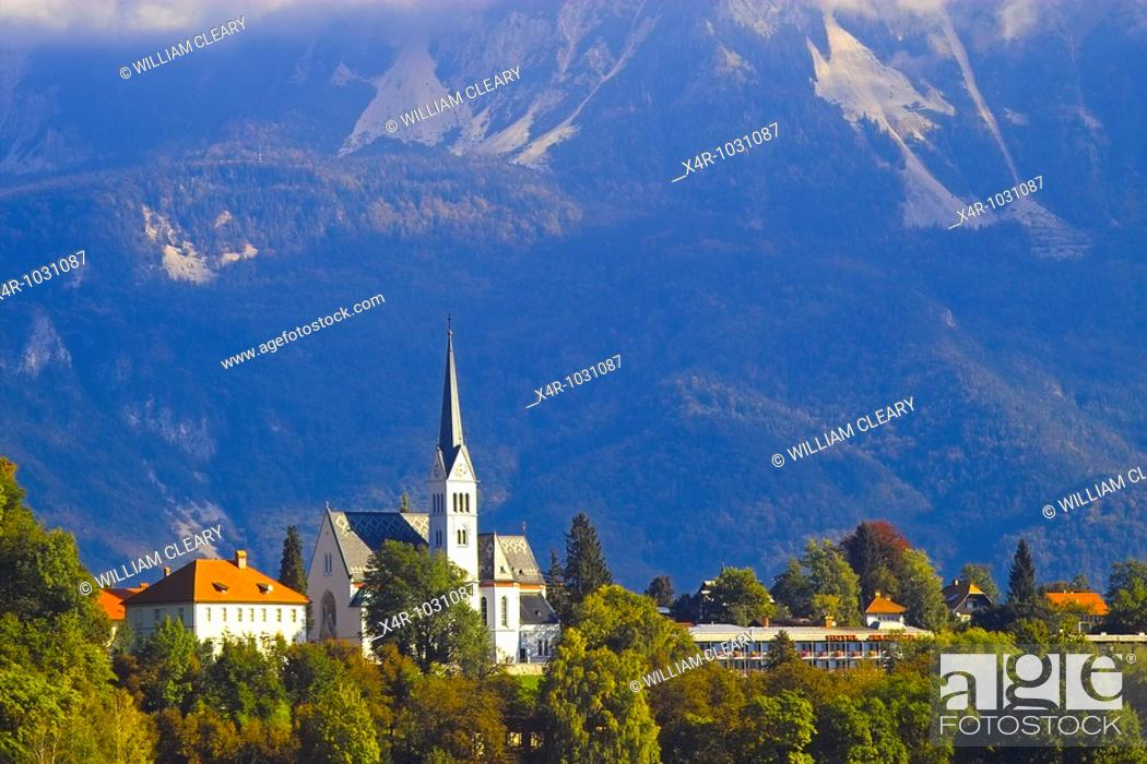Stock Photo: Church on the shores of Lake Bled, Slovenia.