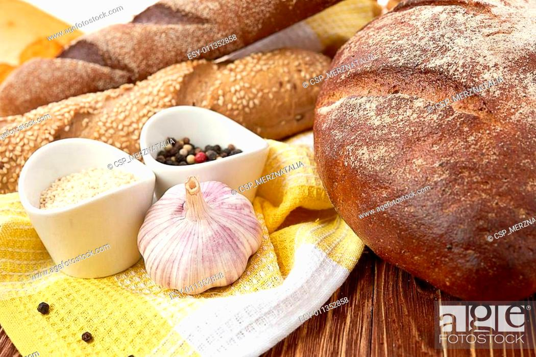 Stock Photo: Different bread. Food background.