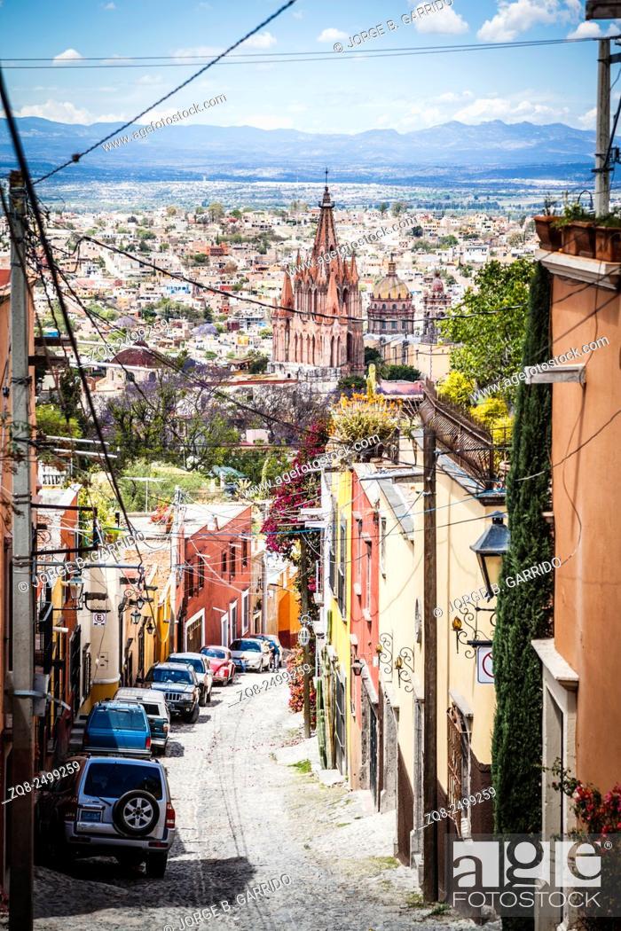 Stock Photo: San Miguel de Allende streest, Mexico, Guanajuato.