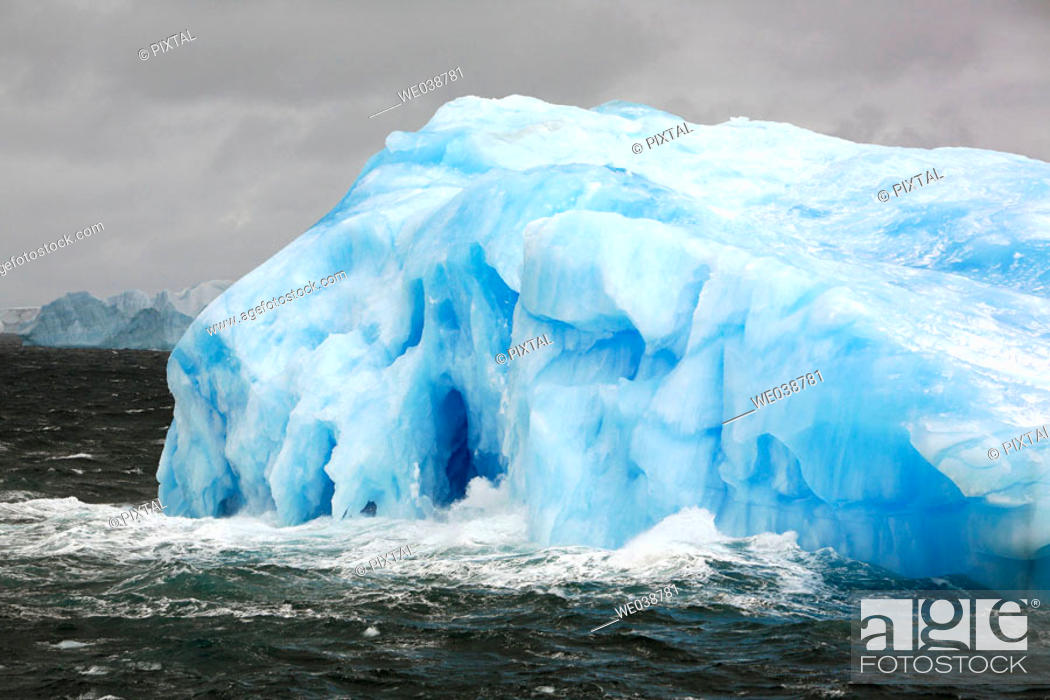Stock Photo: Intensely blue icebergs adrift around the South Orkney Islands, Antarctica.