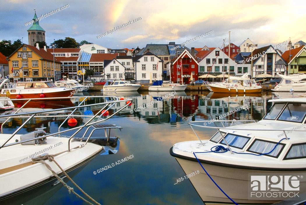 Stock Photo: Naut dock at dusk Stavanger, Norway.
