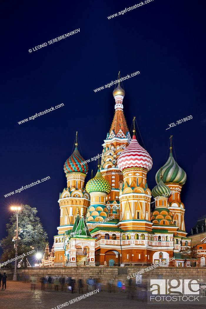 Stock Photo: The Cathedral of Vasily the Blessed, commonly known as Saint Basil's Cathedral. Red Square, Moscow, Russia.