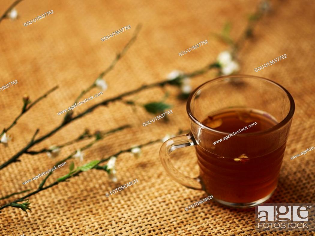Stock Photo: food, glass cup, tea, beverage, drink, cuisine, tea-things.