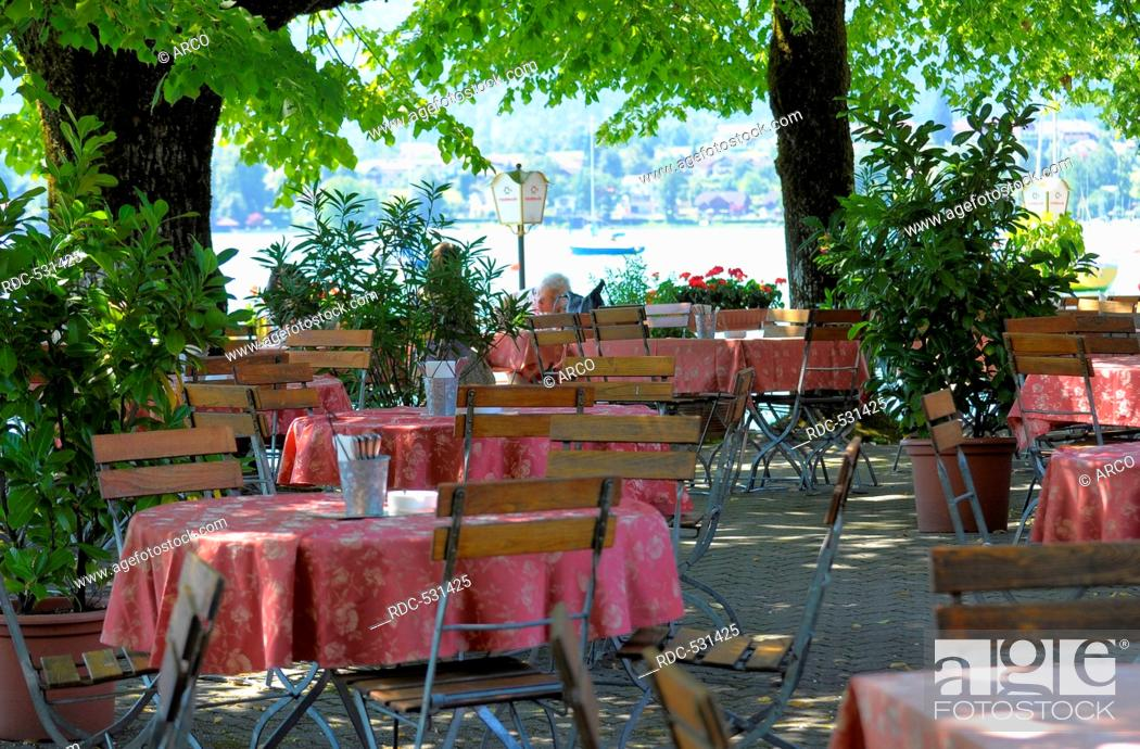 Lakeside Beer Garden Restaurant On The Banks Of Lake Mondsee Mondsee Mondsee Austria Stock Photo Picture And Rights Managed Image Pic Rdc 531425 Agefotostock