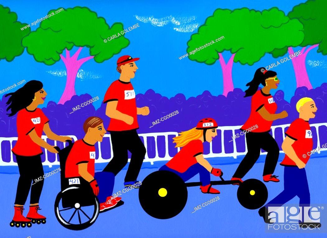 Stock Photo: A wheelchair charity race.