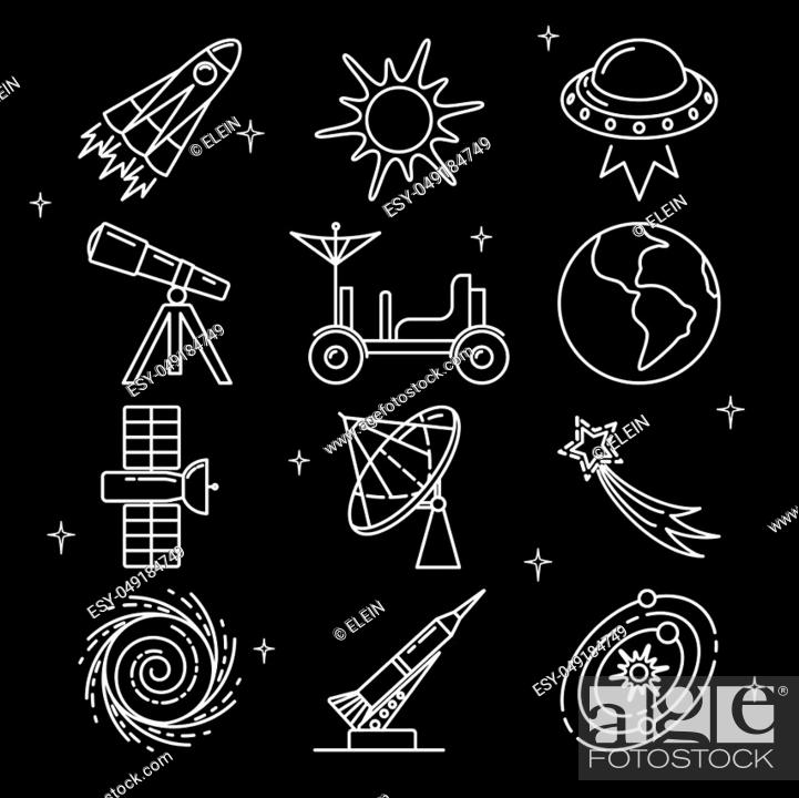 Stock Vector: Space icons collection in thin line style. Spaceship, telescope, UFO, planet, rocket and other symbols.