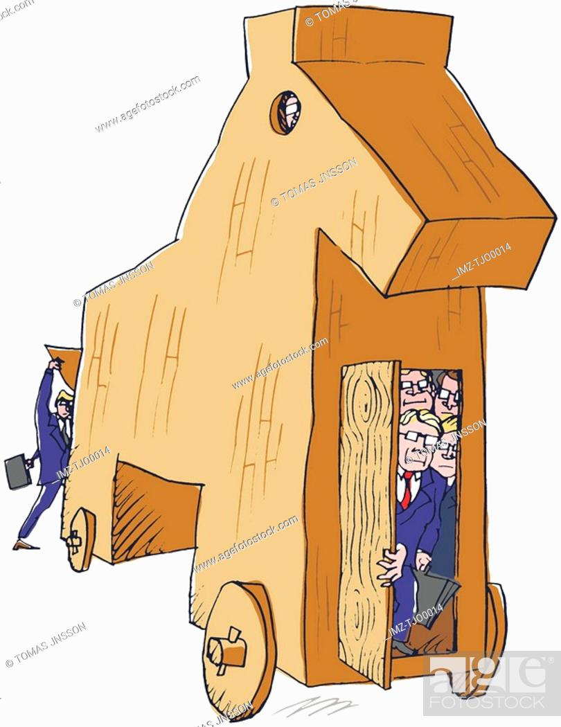 Stock Photo: A group of businessmen hiding in a trojan horse.