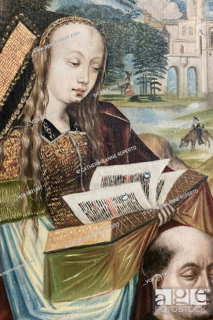 Imagen: Sumptuously dressed medieval lady with long golden tresses, reads the illuminated pages of a golden book above the head of a bald monk in a painting from the.