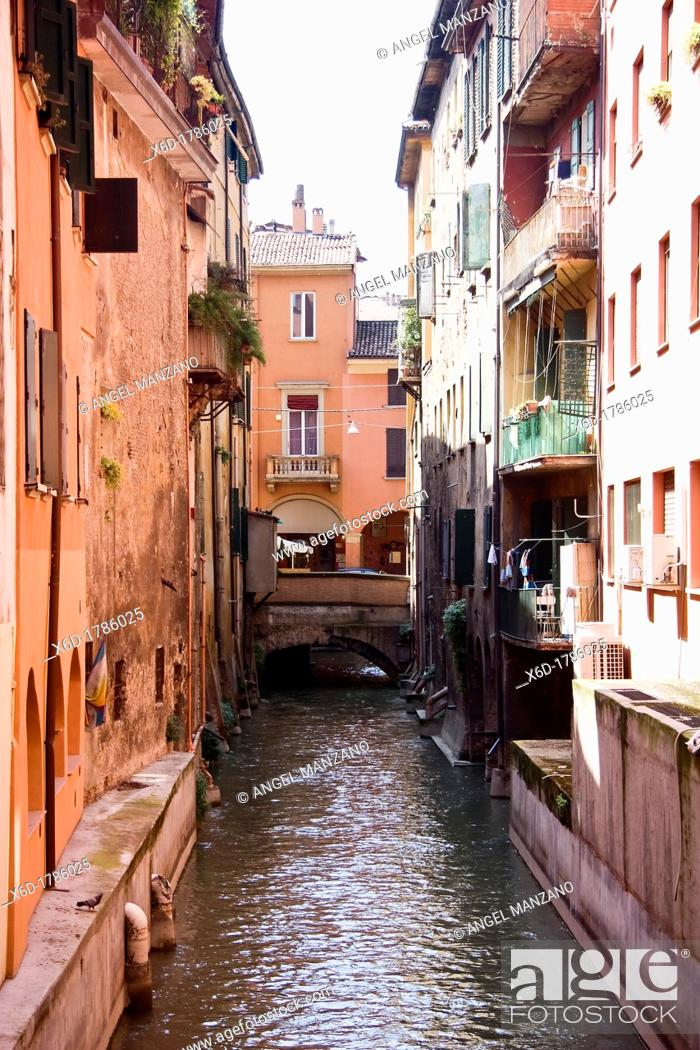 Stock Photo: Water canal in Bologna.