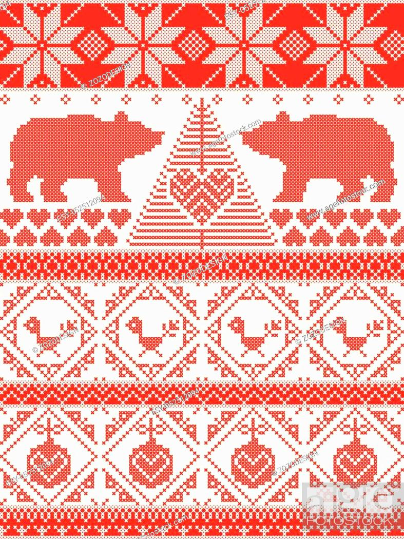 Stock Vector: Tall Scandinavian Printed Textile style and inspired by Norwegian Christmas and festive winter seamless pattern in cross stitch with polar bear, Christmas tree.