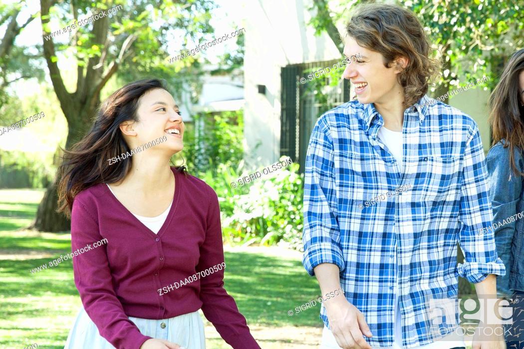Stock Photo: Young couple flirting.