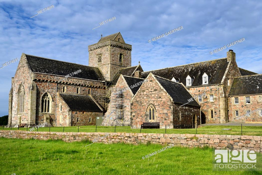 Stock Photo: Restoration work of medieval church and monastery of Iona Abbey founded by St Columba on Isle of Iona Inner Hebrides Scotland UK.