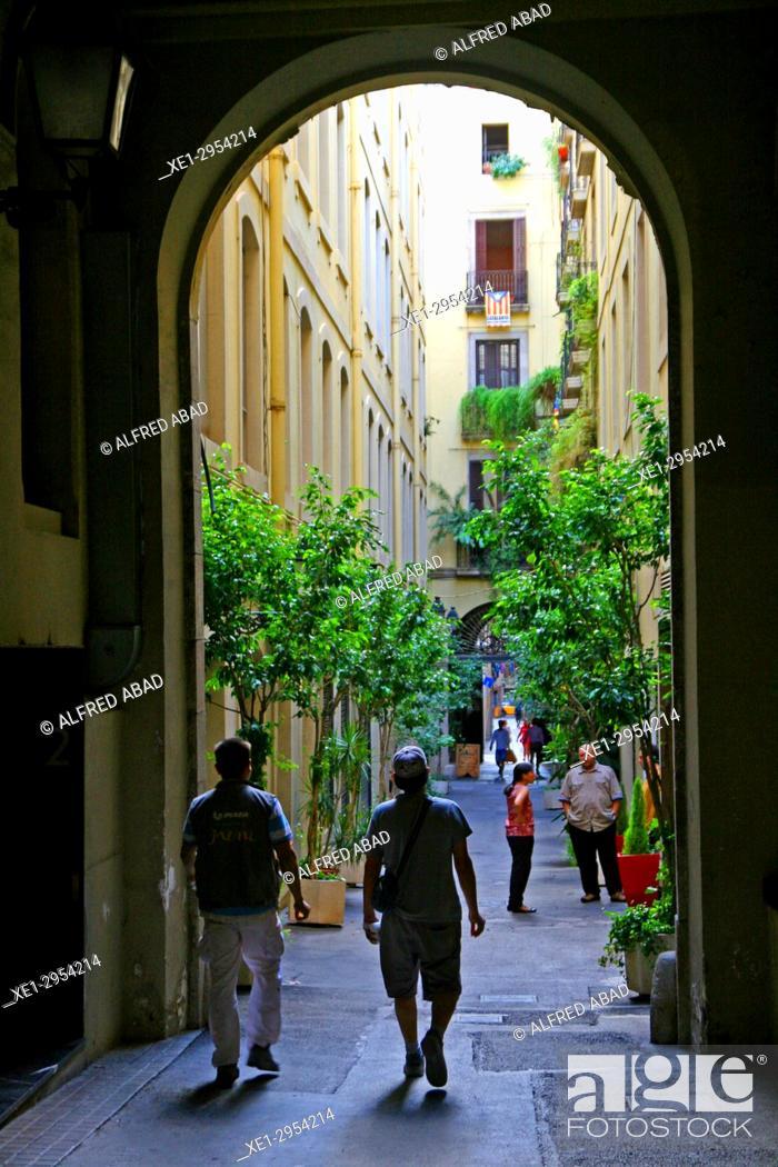 Stock Photo: Modernist street, Passatge Sert, Ciutat Vella, Barcelona, Catalonia, Spain.