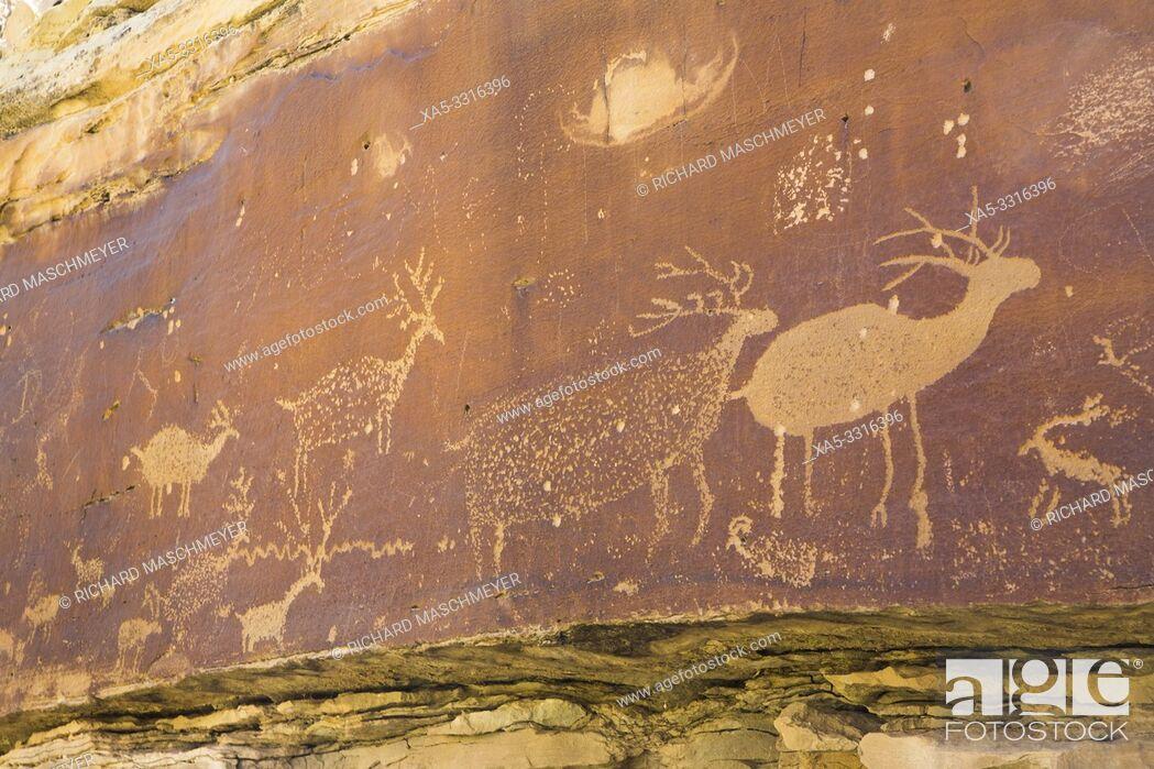 Stock Photo: Nefertiti Petroglyphs, Gray Canyon, North of Green River, Utah, USA.