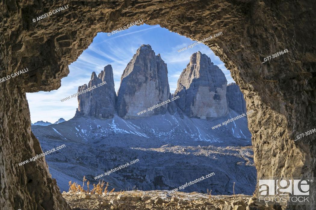 Stock Photo: Italy. Dolomites. Tre Cime di Lavaredo.