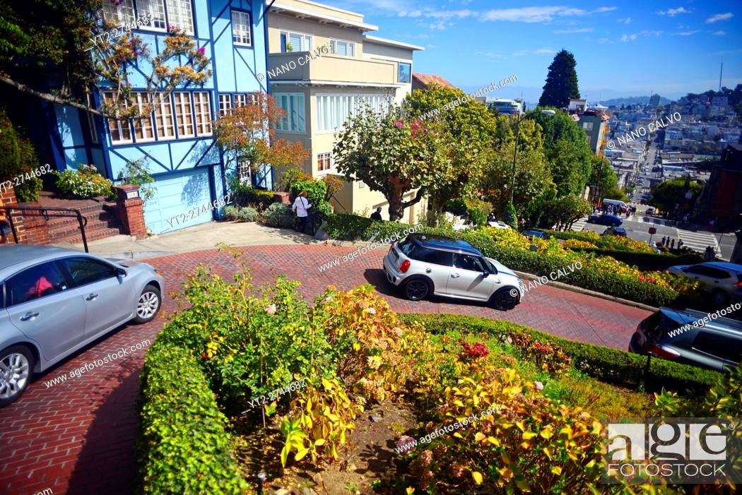 Stock Photo: Popular Lombard Street in San Francisco, an east–west street that is famous for a steep, one-block section with eight hairpin turns.