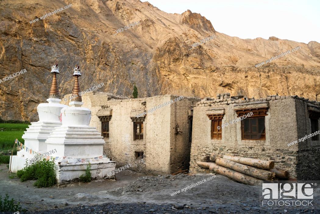 Stock Photo: Skiu village.Trekking in Markha valley Laddakh, India.