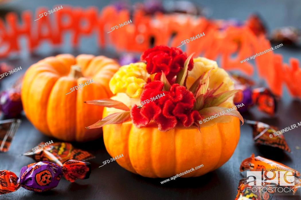 Stock Photo: Pumpkins, sweets and Happy Halloween garland.