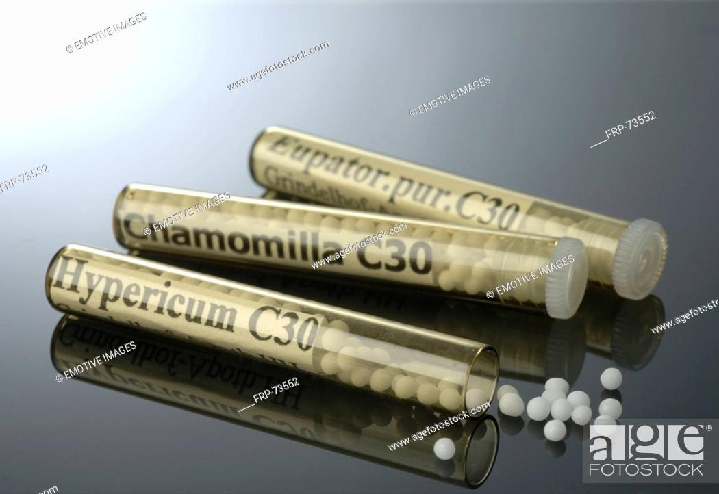 Stock Photo: Globules Chamomilla C 30.