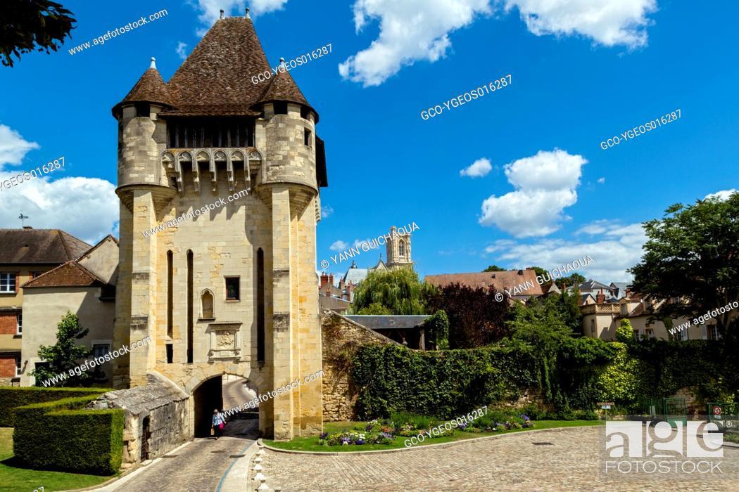 Stock Photo: The medieval gate, Porte du Croux, Nevers, Nievre, France.