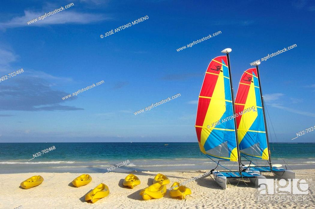 Stock Photo: Catamarans at Maroma beach. Caribe. Quintana Roo state. Mayan Riviera. Yucatan Peninsula. Mexico.