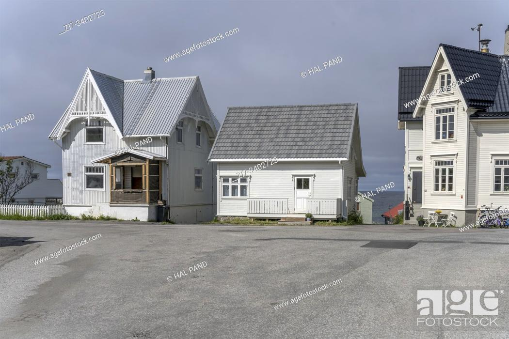 Stock Photo: cityscape with traditional houses at Artic village, shot under bright summer light at Bleik, Andoya, Vesteralen, Norway.