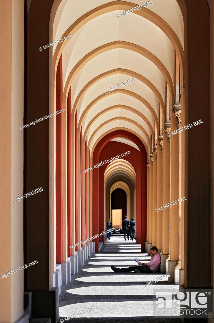 Stock Photo: Arcades at the buidling of the Government of Upper Bavaria, Maximilianstrasse street, Munich, Bavaria, Germany, Europe.