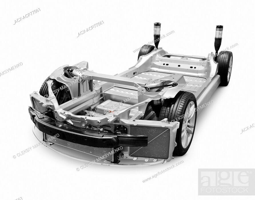Chassis base frame of 2014 Tesla Model S luxury electric car ...